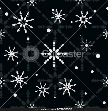 Black seamless Christmas pattern with different snowflakes falling eps10 stock vector clipart, Black seamless Christmas pattern with different snowflakes falling eps 10 by elnurbabayev