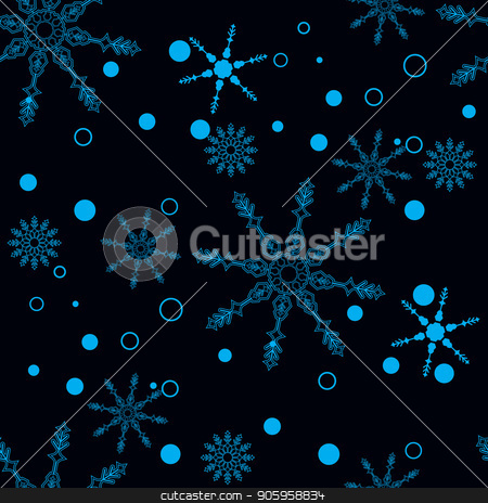 Snowflakes decorated with circles and dots. Vector winter design on black background. Christmas and New Year theme. Happy smiling violet and blue snowflakes seamless pattern. stock vector clipart, Snowflakes decorated with circles and dots. Vector winter design on black background. Christmas and New Year theme. Happy smiling violet and blue snowflakes seamless pattern. eps10 by elnurbabayev
