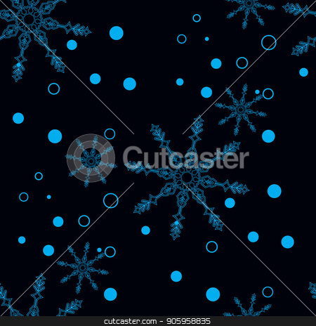 Snowflakes decorated with circles and dots. Vector winter design on black background. Christmas and New Year theme. Happy smiling violet and blue snowflakes seamless pattern. eps10 stock vector clipart, Snowflakes decorated with circles and dots. Vector winter design on black background. Christmas and New Year theme. Happy smiling violet and blue snowflakes seamless pattern. eps 10 by elnurbabayev