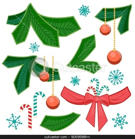 Set of chriatmas stripe and fir branch. Design elements for christmas. stock vector clipart, Set of chriatmas stripe and fir branch with bow and ribbon, sweet candy, christmas balls and snowflakes isolated on white background. For design of Christmas or New Year congratulations, offers by Heliburcka