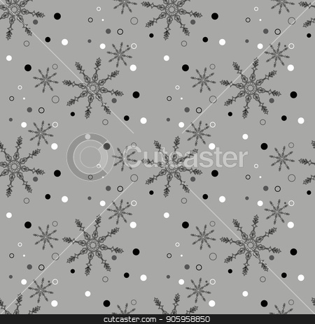 Black seamless Christmas pattern with different snowflakes falling stock vector clipart, Black seamless Christmas pattern with different snowflakes falling eps10 by elnurbabayev