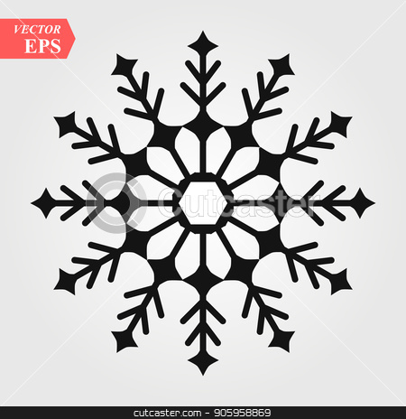 Snowflake icon. Black silhouette snow flake sign, isolated on white background. Flat design. Symbol of winter, frozen, Christmas, New Year holiday. Graphic element decoration Vector illustration stock vector clipart, Snowflake icon. Black silhouette snow flake sign, isolated on white background. Flat design. Symbol of winter, frozen, Christmas, New Year holiday. Graphic element decoration Vector illustration eps10 by elnurbabayev