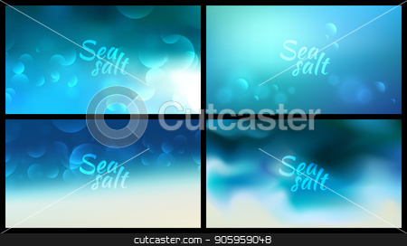 aqua blurred background set 4 wide blurred nature blue backgrounds with sign Sea salt stock vector clipart, aqua blurred background set 4 wide blurred nature blue turquoise backgrounds with sign Sea salt. by MarySan