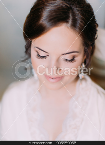 Down view of the lovely bride with the perfect makeup. stock photo, Down view of the lovely bride with the perfect makeup by Andrii Kobryn