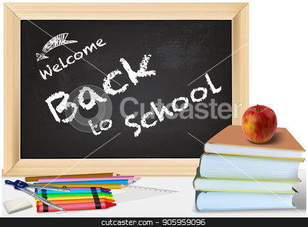 Background Back to School with Books and Chalkboard stock vector clipart, Background Back to School with Books and Colorful School Equipment - Detailed Illustration, Vector Graphics by derocz