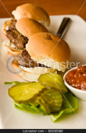 Sliders with Pickles stock photo, Three small burgers with condiments on a platter by Darryl Brooks