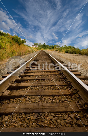 Straight Railroad Tracks stock photo, Railroad tracks disappearing into a point in the distance by Darryl Brooks