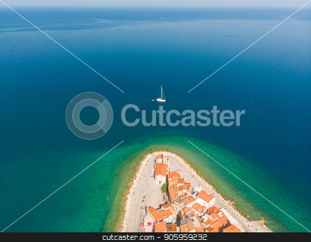 Aerial view of old town Piran, Slovenia, Europe. Summer vacations tourism concept background. stock photo, Aerial view of old town Piran. Splendid summer day on Adriatic Sea. Beautiful cityscape of Slovenia, Europe. Traveling concept background. Magnificent Mediterranean landscape. by kasto