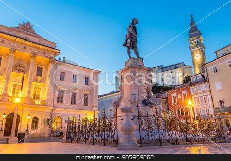 Tartini Square in old tourist costal Mediterranean town of Piran, Slovenia. stock photo, Spectacular evening view of Tartini Square in old town Piran in Slovenia. Traveling concept. Beautiful Mediterranean tourist town on Slovenian cost. by kasto