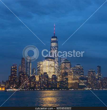 Panoramic view of Lower Manhattan from Ellis Island at dusk, New York City. stock photo, Panoramic view of Lower Manhattan from Ellis Island at cloudy dusk, New York City. by kasto
