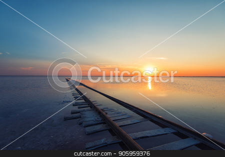 Beauty sunset on salty lake stock photo, Beauty sunset on salty lake in Altay, Siberia, Russia by olinchuk