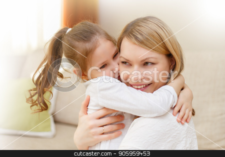Mother and her little daughter child girl playing and hugging. stock photo,  Mother and her little daughter child girl playing and hugging. Happy loving family. by Alfira Poyarkova