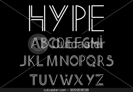 abstract font and alphabet stock vector clipart, Modern, abstract font and alphabet in linear style. Vector illustration by Evgeniy Dzyuba