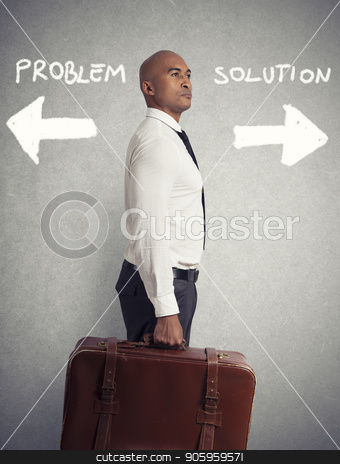 Businessman must choose between different destinations. concept of difficult career stock photo, Businessman must choose between different destinations. concept of difficult career in business by Federico Caputo