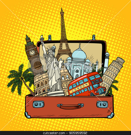 Suitcase with world landmarks.Tourism and travel concept stock vector clipart, Suitcase with world landmarks.Tourism and travel concept. Comic cartoon pop art retro vector illustration drawing by rogistok
