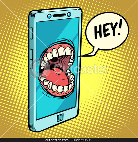 online assistant. Smartphone says stock vector clipart, online assistant. Smartphone says. Comic cartoon pop art retro vector illustration drawing by rogistok