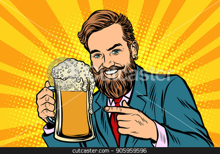 Smiling man with a mug of beer foam stock vector clipart, Smiling man with a mug of beer foam. Comic cartoon pop art retro vector illustration drawing by rogistok