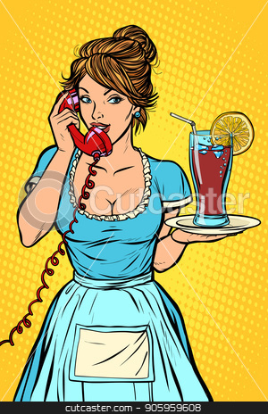 Cola with lemon Delivery. Hotel service. Waitress stock vector clipart, Cola with lemon Delivery. Hotel service. Waitress. Comic cartoon pop art retro vector drawing by rogistok