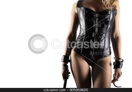 Sensual provocation of a sexy bdsm woman with whip stock photo, Sensual provocation of a sexy bdsm woman in lingerie with whip by Federico Caputo
