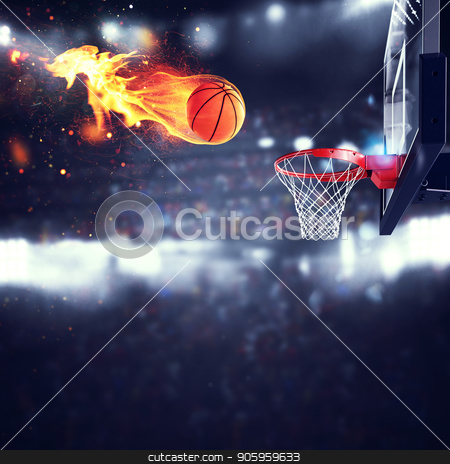 Fiery ball goes fast to the basket stock photo, Fiery ball goes fast to the basket at the stadium by Federico Caputo