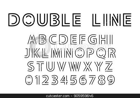 double line font stock vector clipart, Alphabet and double line font. Modern actual vector illustration in line art style. by Evgeniy Dzyuba