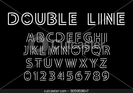double line font stock vector clipart, Alphabet and double line font. Modern actual vector illustration in line art style. by Evgeniy Dzyuba