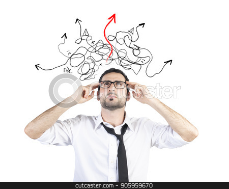 Confused businessman found the way of the solution stock photo, Confused businessman found the easy way of the solution by Federico Caputo