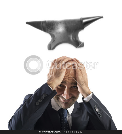 Difficult career in business with falling anvil stock photo, Concept of difficult career in business with falling anvil by Federico Caputo