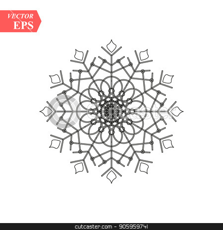 Snowflake icon. Flat vector illustration in black on white background. EPS 10 stock vector clipart, Snowflake icon. Flat vector illustration in black on white background. EPS10 by elnurbabayev