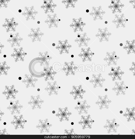 Winter Snow Flakes Doodles. Black and White Seamless Background Pattern. Hand-Drawn Vector Illustration. Pattern Swatch stock vector clipart, Winter Snow Flakes Doodles. Black and White Seamless Background Pattern. Hand-Drawn Vector Illustration. Pattern Swatch eps10 by elnurbabayev
