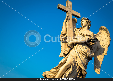 Catholic angel with cross stock photo, Rome, statue of an angel on the bridge in front of Castel Sant'Angelo. Conceptual useful for spirituality, christianity and faith. by Paolo Gallo