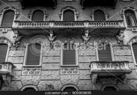 TURIN, ITALY - Dragon on Victory Palace facade  stock photo, Turin, Corso Francia, Casa dei Draghi/Palazzo della Vittoria von Gottardo Gussoni (art nouveau house). Dragon detail on the facade. by Paolo Gallo