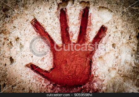 Red hand on stone - graphic gothic element stock photo, Young hand painted in red on stone - graphic gothic element by Paolo Gallo