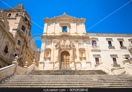 NOTO, ITALY - San Francesco D'Assisi church stock photo, San Francesco is one of many new churches built after the city of Noto was virtually destroyed by the earthquake of 1693. Baroque style by Paolo Gallo