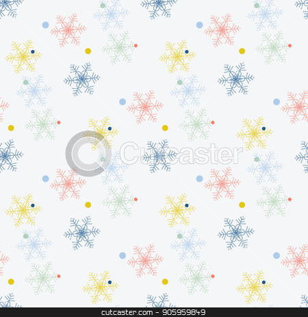 Abstract handmade snowflake seamless pattern background. Childish handcrafted snow wallpaper for design card, baby nappy, winter menu, holiday wrapping paper, bag print, t shirt etc. stock vector clipart, Abstract handmade snowflake seamless pattern background. Childish handcrafted snow wallpaper for design card, baby nappy, winter menu, holiday wrapping paper, bag print, t shirt etc. eps10 by elnurbabayev