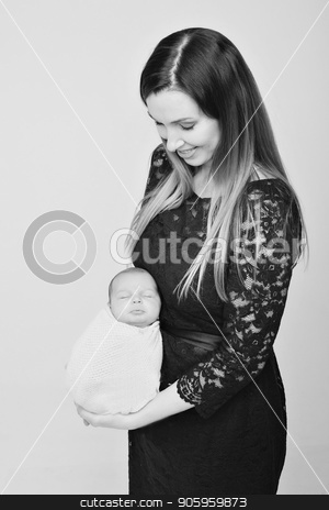 baby on the hands of mother. woman and child stock photo, baby on the hands of mother. woman and child by aaalll3110