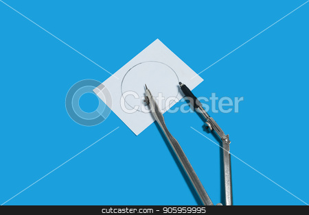calipers and a notation paper stock photo, metal calipers and a memorandum white paper lying on a blue background. concept of office chancery. free space for advertising text by Oleh