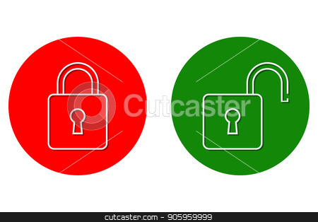 Sign closed and open door stock vector clipart, Sign closed and open door or entrance-exit in the form of a padlock. Vector illustration. by Evgeniy Dzyuba
