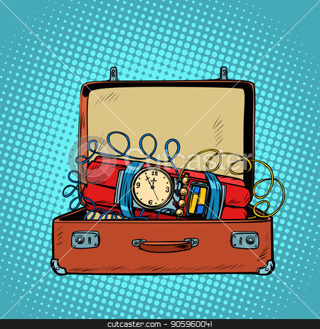 Suitcase with a time bomb stock vector clipart, Suitcase with a time bomb. Comic cartoon pop art retro vector illustration drawing by rogistok