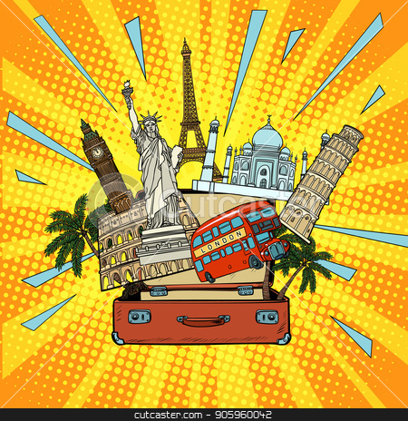 Tourism and travel concept. America Europe Asia and the world stock vector clipart, Tourism and travel concept. America Europe Asia and the world. Comic cartoon pop art retro vector illustration drawing by rogistok