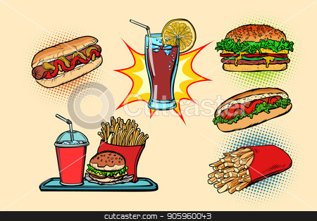 fast food set collection hot dog Burger Cola French fries drink stock vector clipart, fast food set collection hot dog Burger Cola French fries drink. Comic cartoon pop art retro vector illustration drawing by rogistok