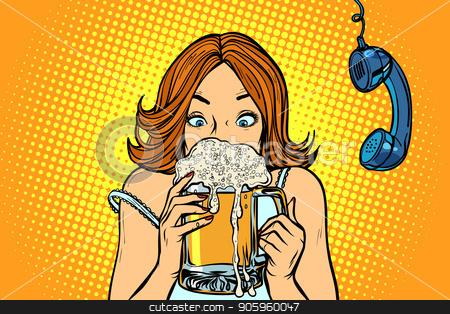 Lunch break. Woman drinking beer stock vector clipart, Lunch break. Woman drinking beer. Comic cartoon pop art retro vector illustration drawing by rogistok