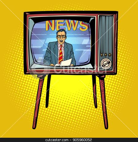 Political news presenter on TV stock vector clipart, Political news presenter on TV. Comic cartoon pop art retro vector illustration drawing by rogistok