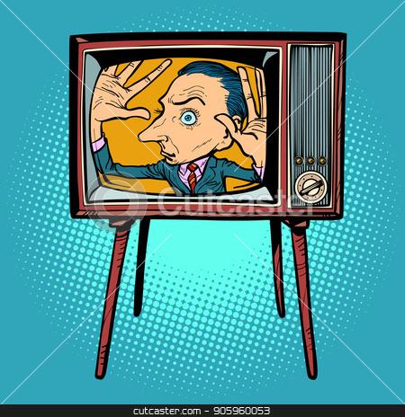 man inside TV stock vector clipart, man inside TV. Comic cartoon pop art retro vector illustration drawing by rogistok