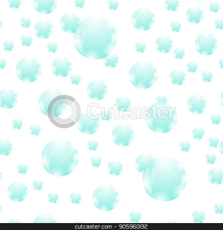 Azure Soap Bubbles Seamless Pattern stock vector clipart, Azure Soap Bubbles Seamless Pattern Isolated on White Background by valeo5