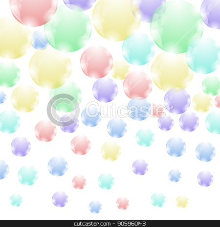 Colored Soap Bubbles Pattern stock vector clipart, Colored Soap Bubbles  Pattern Isolated on White Background by valeo5
