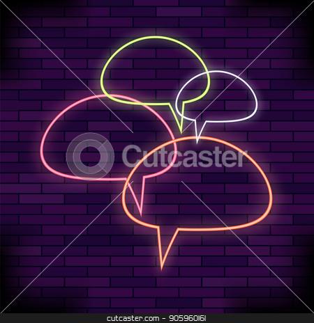 Colorful Speech Bubbles stock vector clipart, Colorful Speech Bubbles Set on Brick Background by valeo5