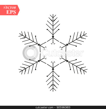 Snowflake icon. Christmas and winter theme. Simple flat black illustration on white background. stock vector clipart, Snowflake icon. Christmas and winter theme. Simple flat black illustration on white background. eps10 by elnurbabayev