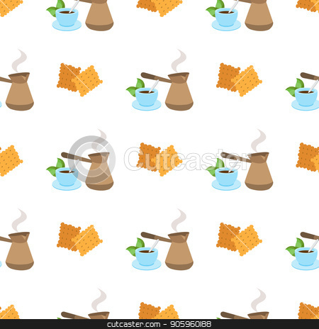 Seamless pattern with illustrations on a coffee theme. Turkish coffee pot, cup of coffee and crackers. stock vector clipart, Seamless pattern with illustrationson a coffee theme. Turkish coffee pot, cup of coffee and crackers. by Filipp Efanov