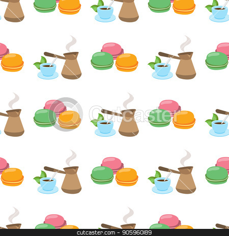 Seamless pattern with illustrations on a coffee theme. Turkish coffee pot, cup of coffee and macaroon stock vector clipart, Seamless pattern with illustrations on a coffee theme. Turkish coffee pot, cup of coffee and macaroon. by Filipp Efanov